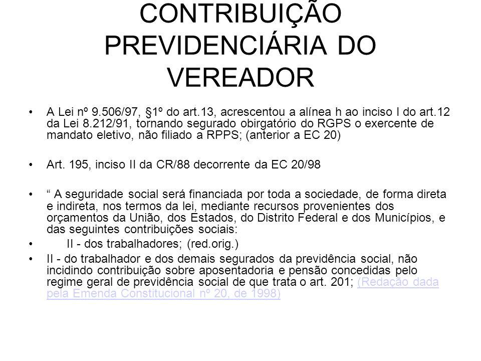 CONTRIBUIÇÃO PREVIDENCIÁRIA DO VEREADOR