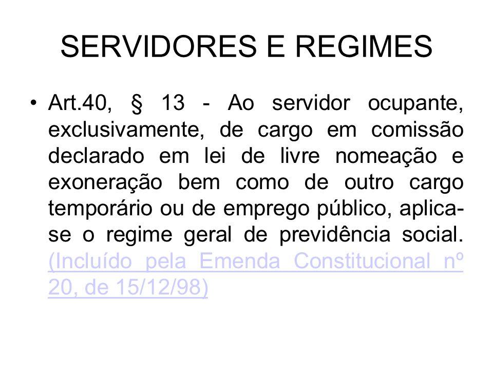 SERVIDORES E REGIMES