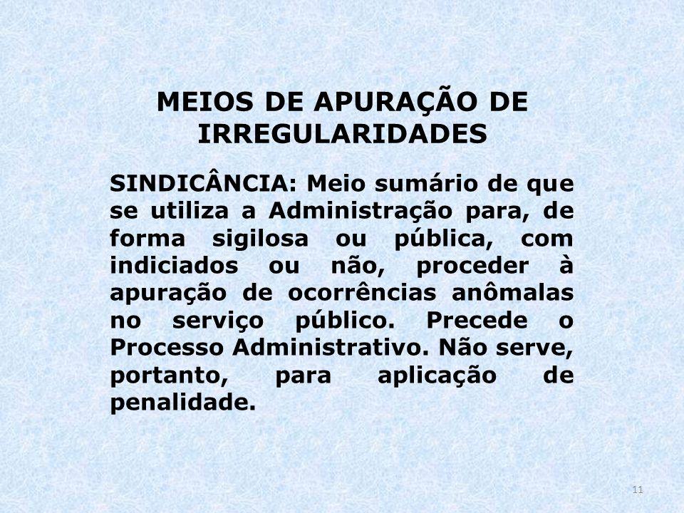 MEIOS DE APURAÇÃO DE IRREGULARIDADES
