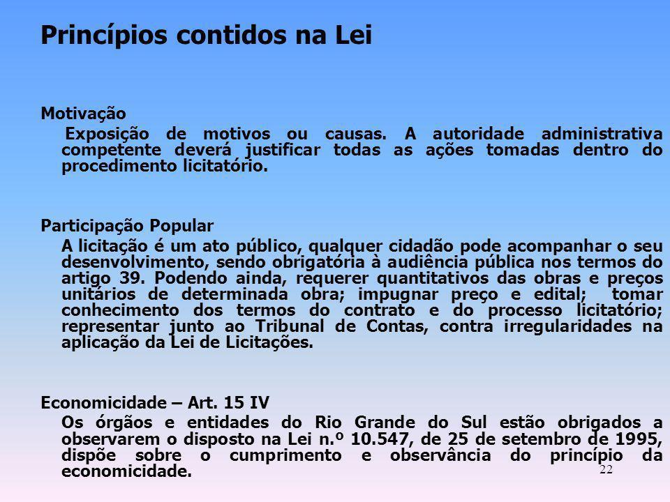 Princípios contidos na Lei