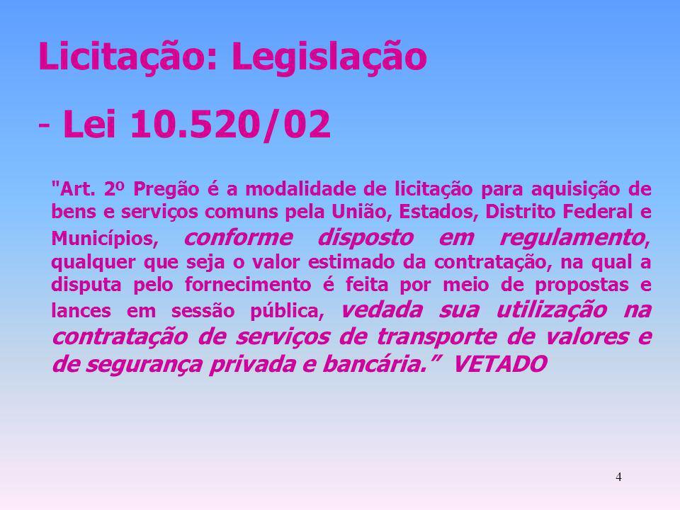 Licitação: Legislação Lei 10.520/02