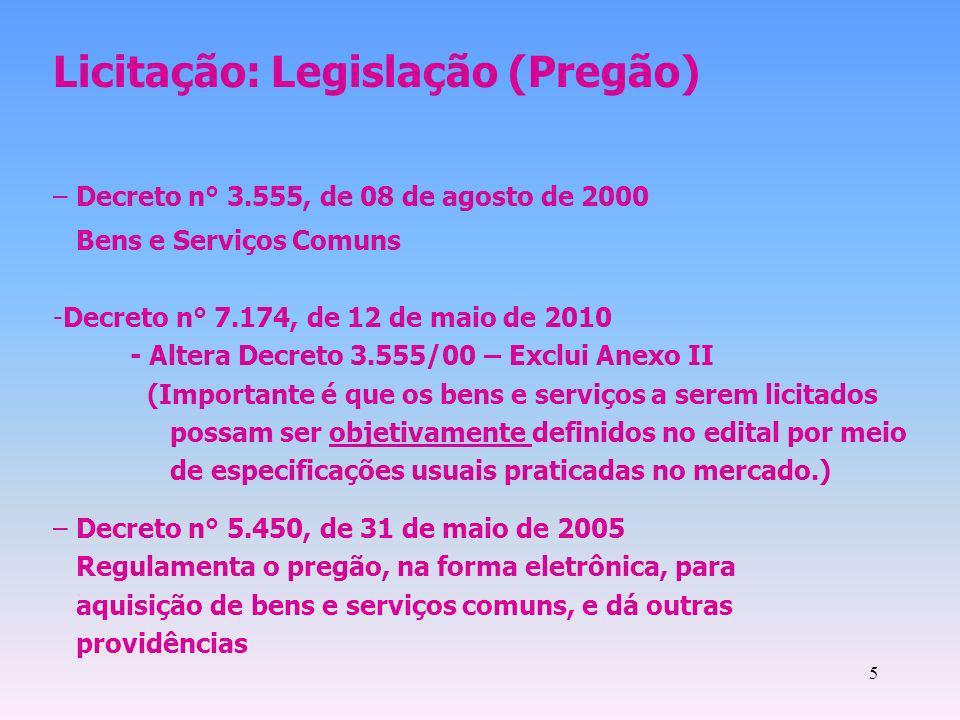 Licitação: Legislação (Pregão)