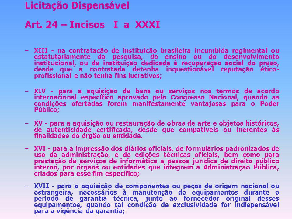 Licitação Dispensável Art. 24 – Incisos I a XXXI