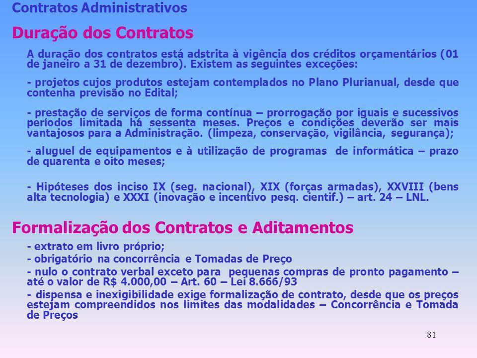 Formalização dos Contratos e Aditamentos