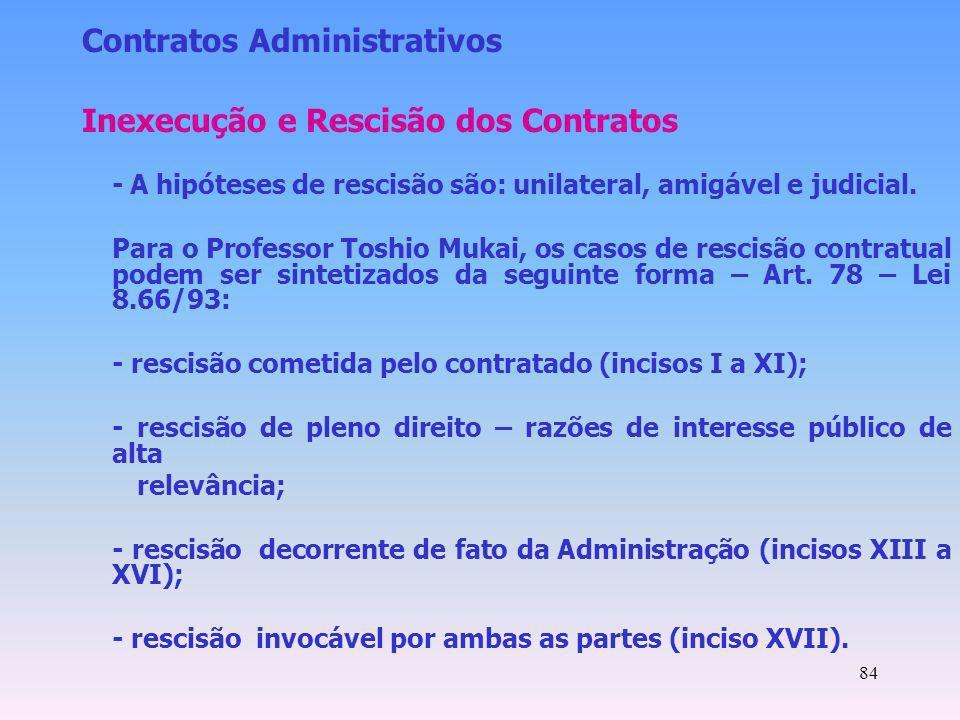 Contratos Administrativos Inexecução e Rescisão dos Contratos