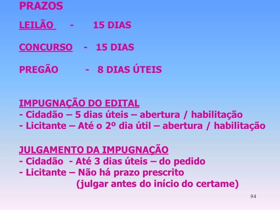 PRAZOS LEILÃO - 15 DIAS CONCURSO - 15 DIAS PREGÃO - 8 DIAS ÚTEIS