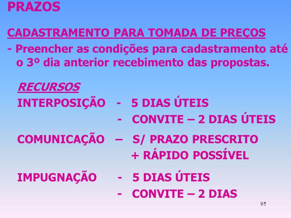 PRAZOS CADASTRAMENTO PARA TOMADA DE PREÇOS