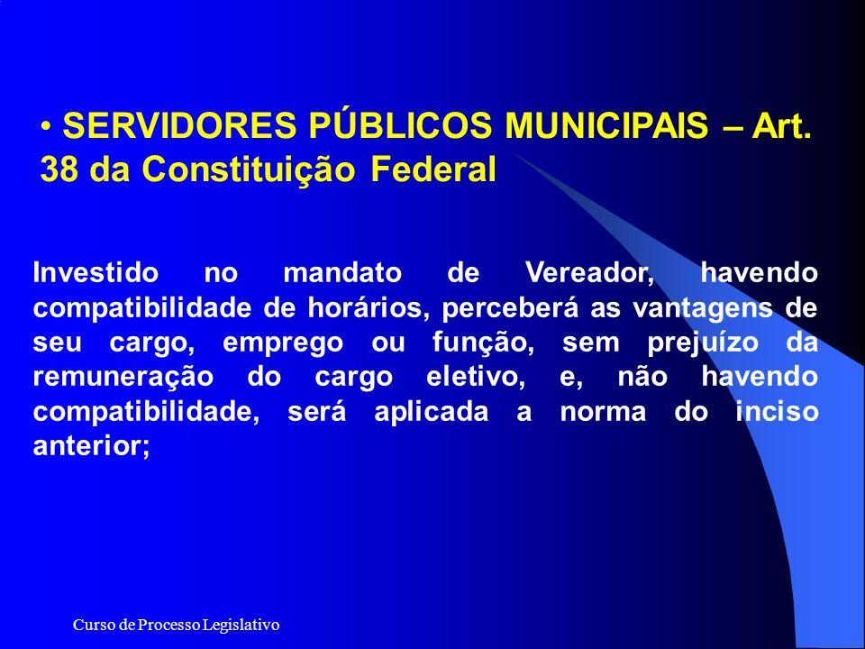 SERVIDORES PÚBLICOS MUNICIPAIS – Art. 38 da Constituição Federal
