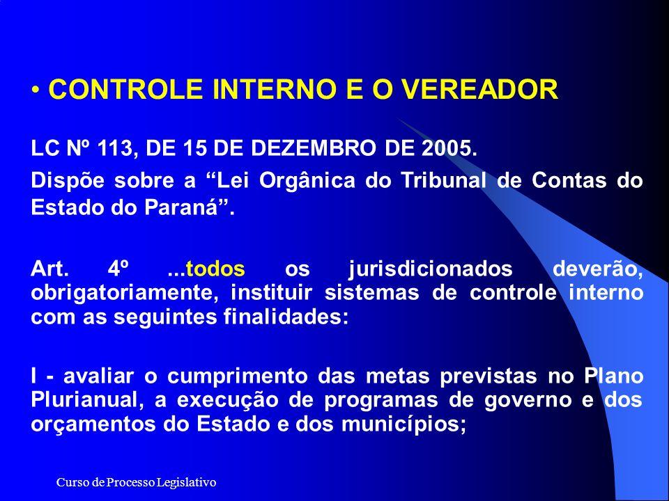 CONTROLE INTERNO E O VEREADOR