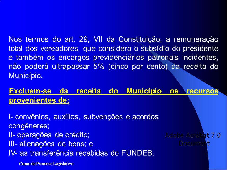 Excluem-se da receita do Município os recursos provenientes de: