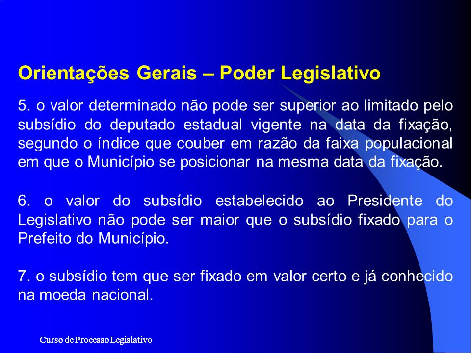 Orientações Gerais – Poder Legislativo