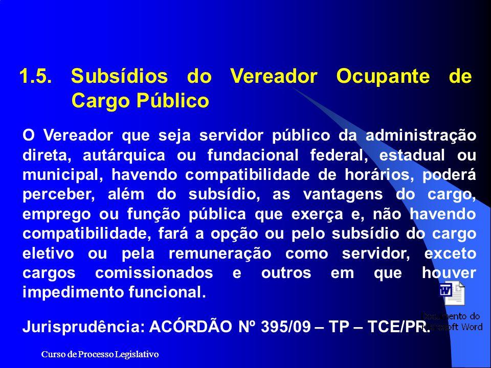 1.5. Subsídios do Vereador Ocupante de Cargo Público