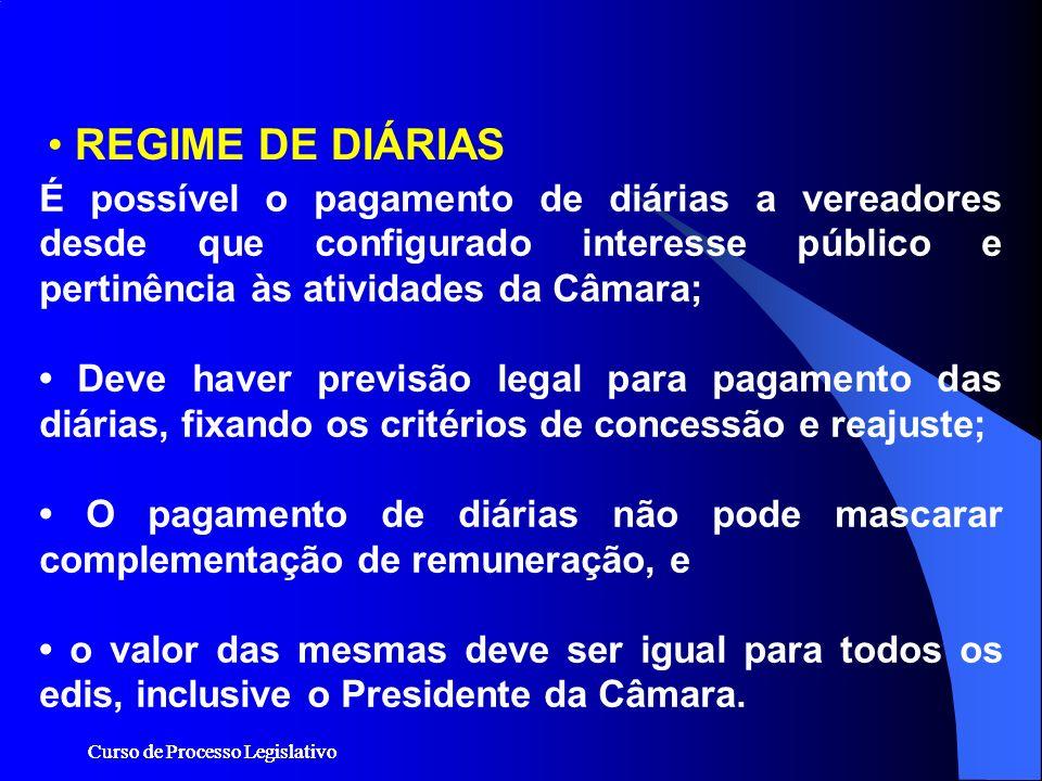 REGIME DE DIÁRIAS É possível o pagamento de diárias a vereadores desde que configurado interesse público e pertinência às atividades da Câmara;