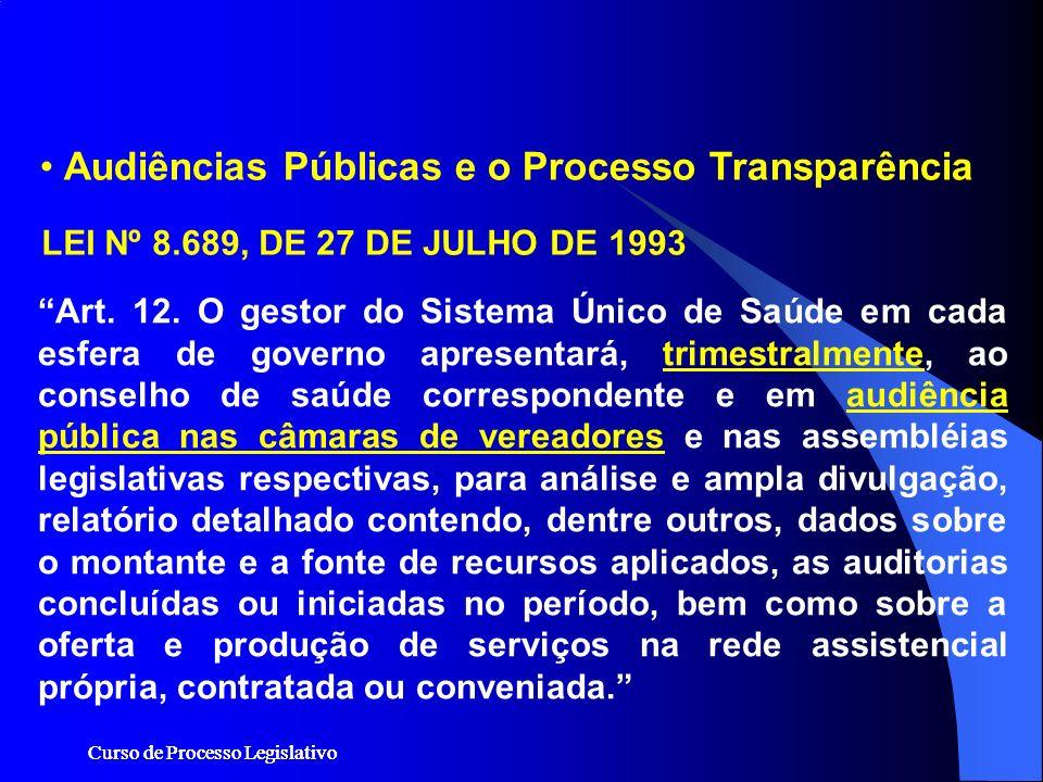 Audiências Públicas e o Processo Transparência