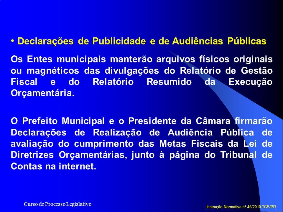 Declarações de Publicidade e de Audiências Públicas