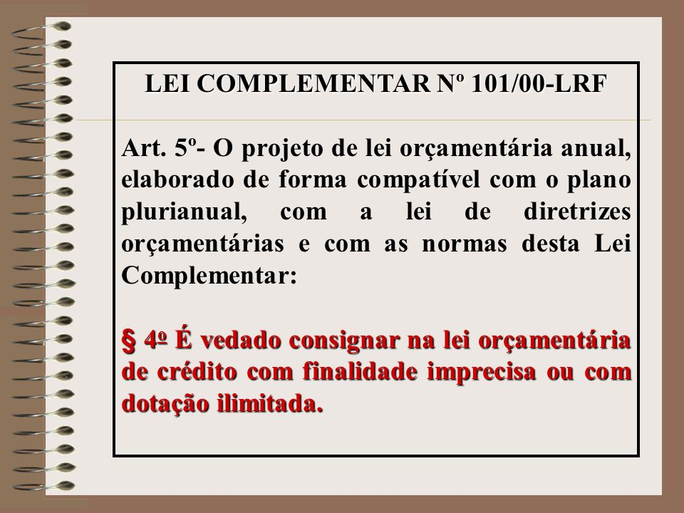 LEI COMPLEMENTAR Nº 101/00-LRF