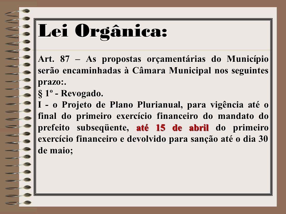 Lei Orgânica: Art. 87 – As propostas orçamentárias do Município serão encaminhadas à Câmara Municipal nos seguintes prazo:.