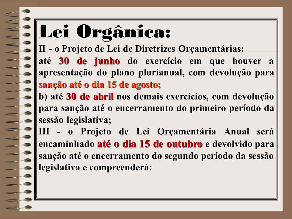 Lei Orgânica: II - o Projeto de Lei de Diretrizes Orçamentárias: