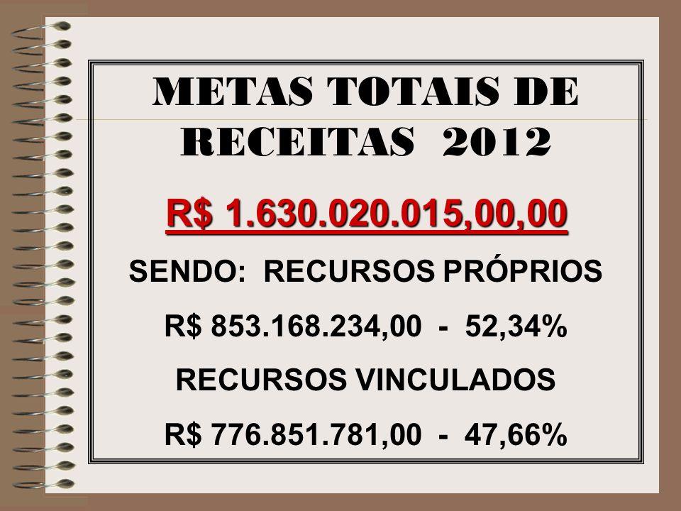 METAS TOTAIS DE RECEITAS 2012 SENDO: RECURSOS PRÓPRIOS