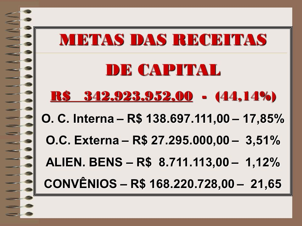 METAS DAS RECEITAS DE CAPITAL