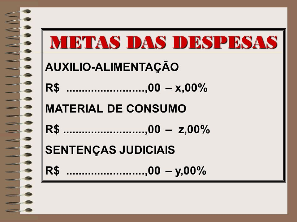 METAS DAS DESPESAS AUXILIO-ALIMENTAÇÃO