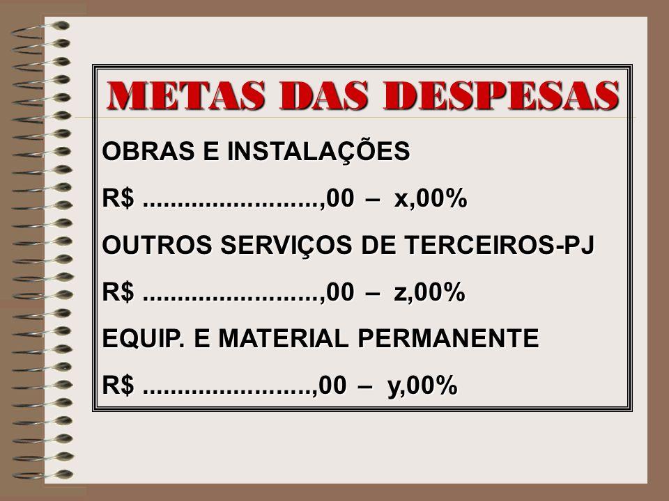 METAS DAS DESPESAS OBRAS E INSTALAÇÕES