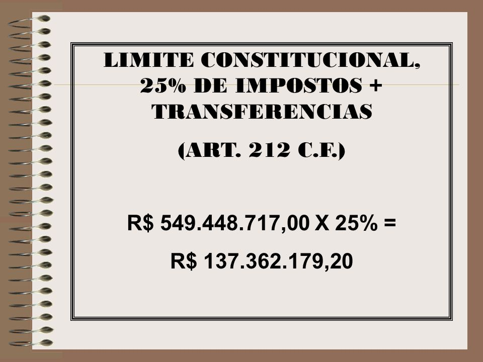 LIMITE CONSTITUCIONAL, 25% DE IMPOSTOS + TRANSFERENCIAS