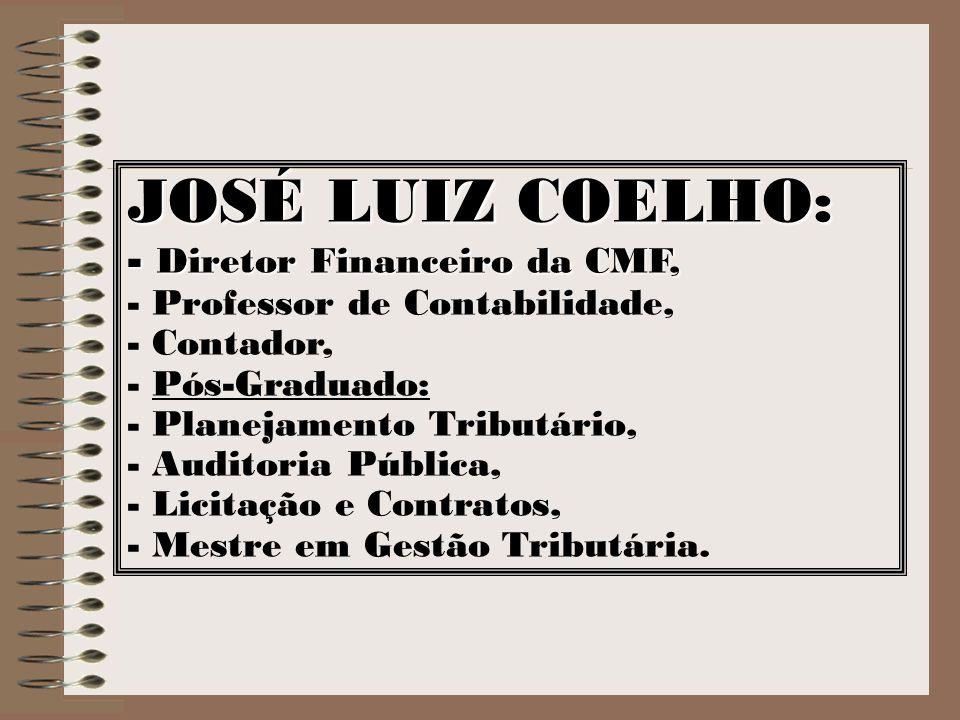JOSÉ LUIZ COELHO: Diretor Financeiro da CMF,