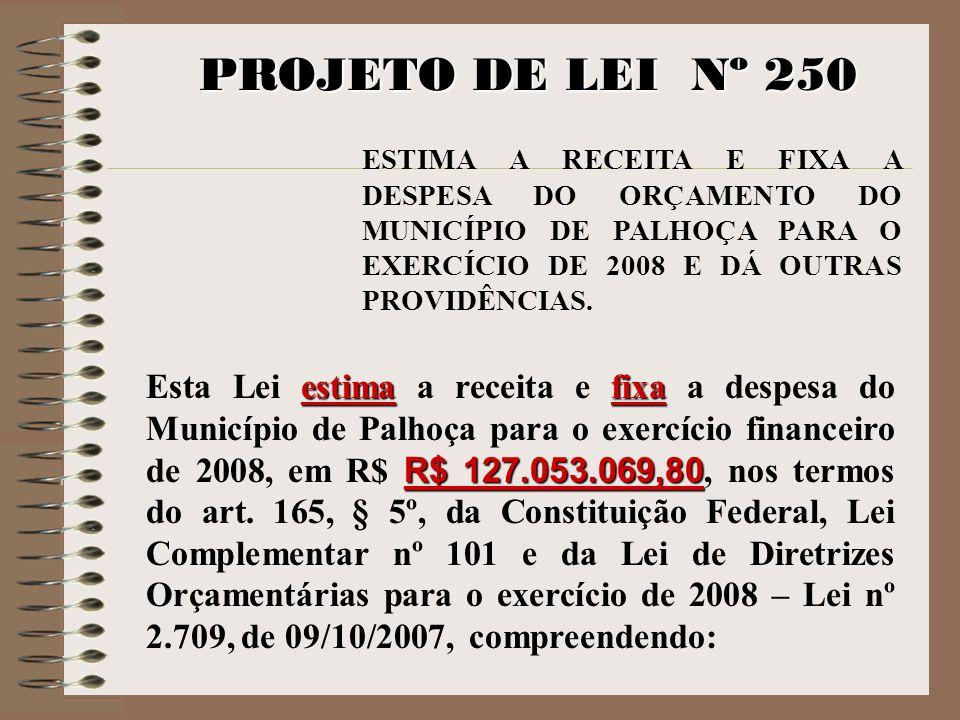 PROJETO DE LEI Nº 250ESTIMA A RECEITA E FIXA A DESPESA DO ORÇAMENTO DO MUNICÍPIO DE PALHOÇA PARA O EXERCÍCIO DE 2008 E DÁ OUTRAS PROVIDÊNCIAS.