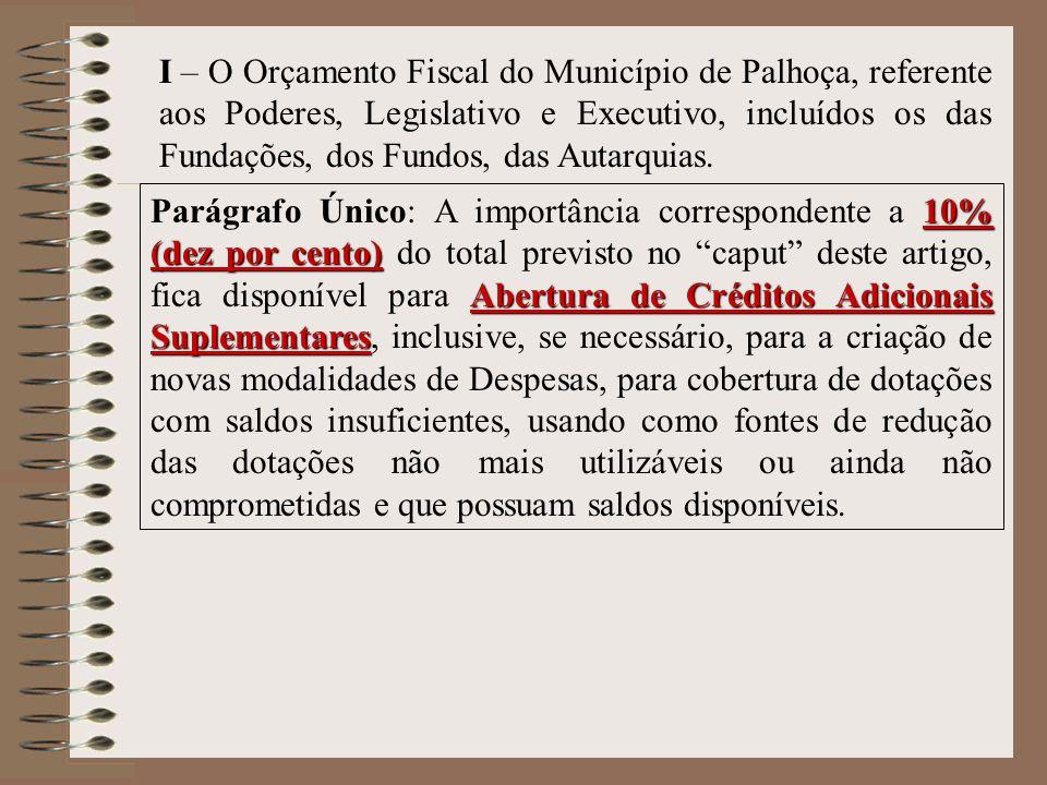 I – O Orçamento Fiscal do Município de Palhoça, referente aos Poderes, Legislativo e Executivo, incluídos os das Fundações, dos Fundos, das Autarquias.