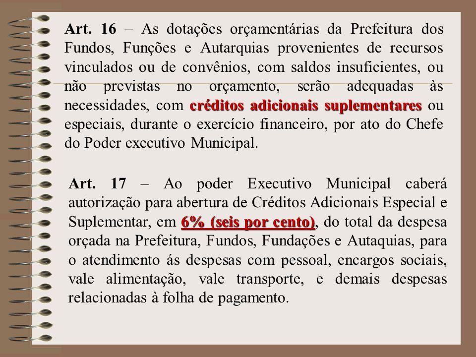 Art. 16 – As dotações orçamentárias da Prefeitura dos Fundos, Funções e Autarquias provenientes de recursos vinculados ou de convênios, com saldos insuficientes, ou não previstas no orçamento, serão adequadas às necessidades, com créditos adicionais suplementares ou especiais, durante o exercício financeiro, por ato do Chefe do Poder executivo Municipal.