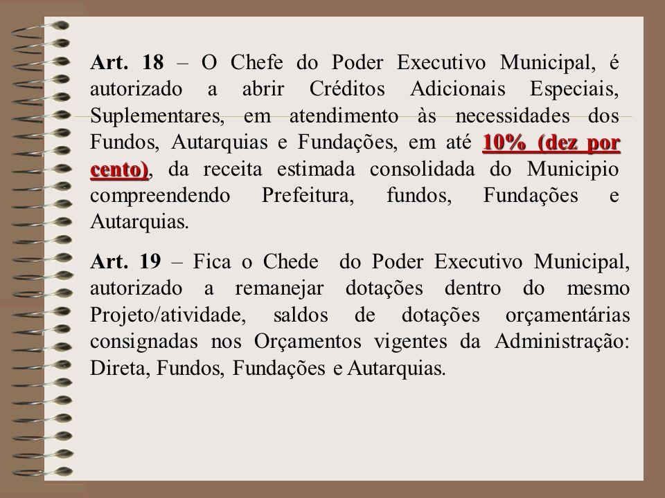 Art. 18 – O Chefe do Poder Executivo Municipal, é autorizado a abrir Créditos Adicionais Especiais, Suplementares, em atendimento às necessidades dos Fundos, Autarquias e Fundações, em até 10% (dez por cento), da receita estimada consolidada do Municipio compreendendo Prefeitura, fundos, Fundações e Autarquias.
