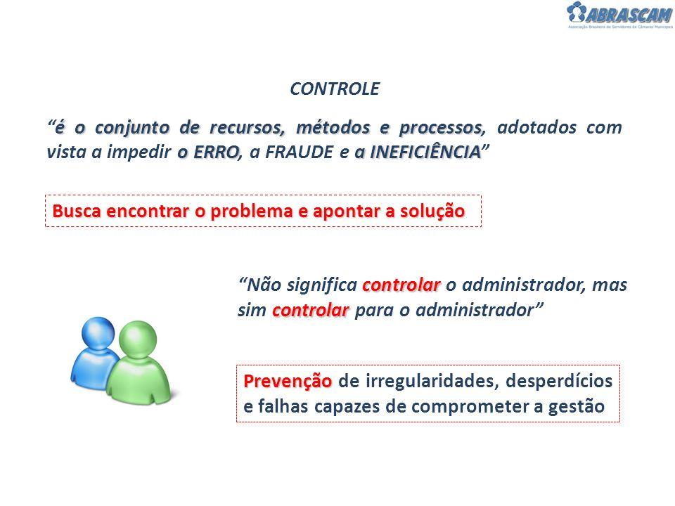 CONTROLE é o conjunto de recursos, métodos e processos, adotados com vista a impedir o ERRO, a FRAUDE e a INEFICIÊNCIA