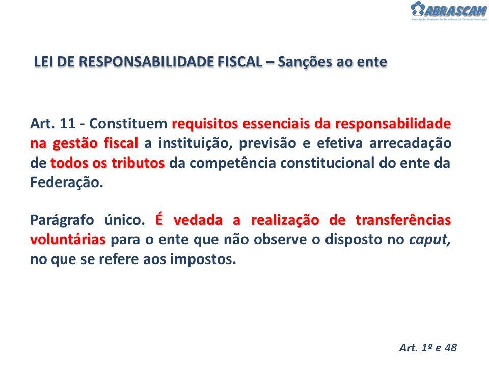LEI DE RESPONSABILIDADE FISCAL – Sanções ao ente