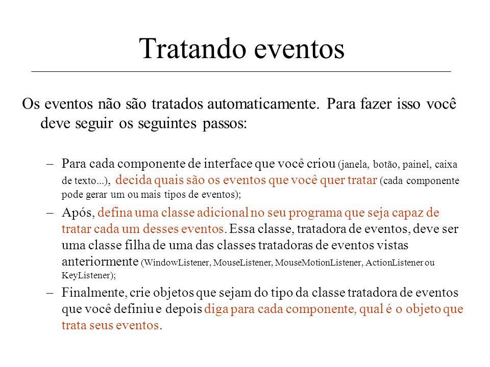 Tratando eventos Os eventos não são tratados automaticamente. Para fazer isso você deve seguir os seguintes passos: