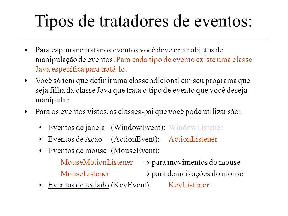 Tipos de tratadores de eventos: