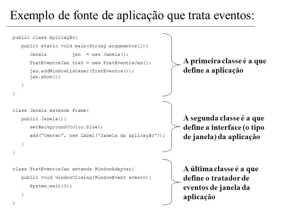 Exemplo de fonte de aplicação que trata eventos: