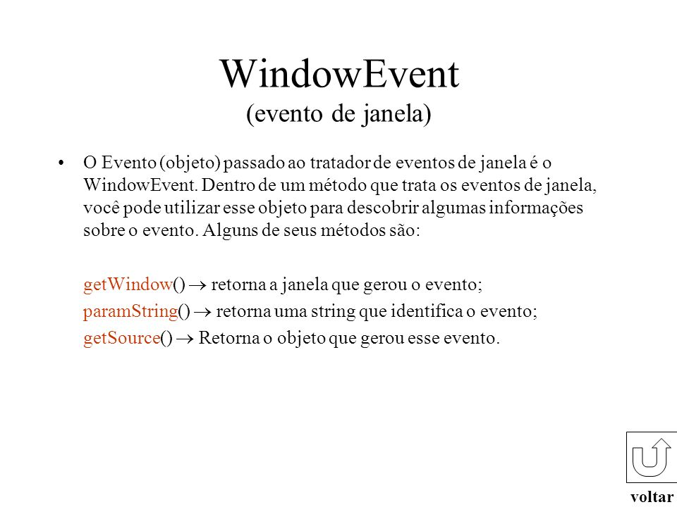 WindowEvent (evento de janela)