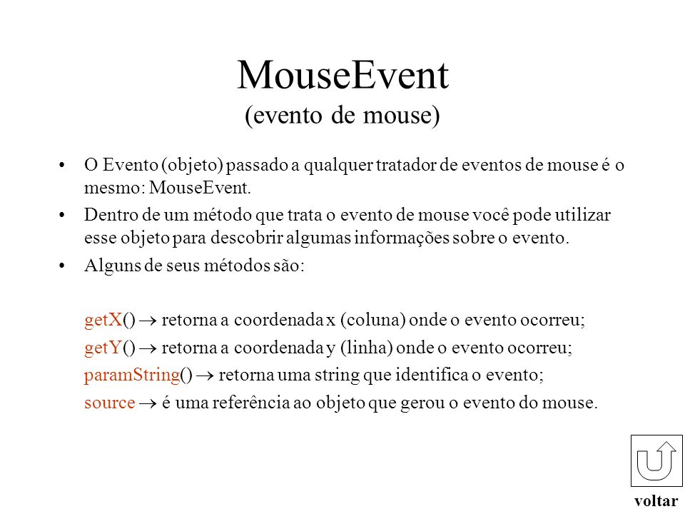 MouseEvent (evento de mouse)
