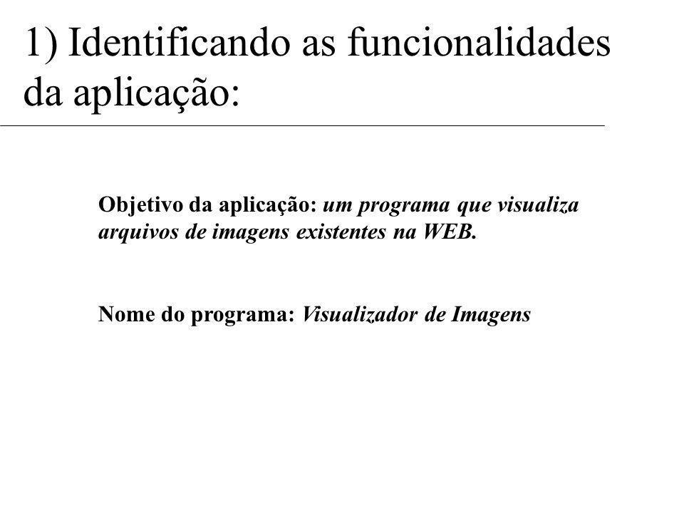 1) Identificando as funcionalidades da aplicação: