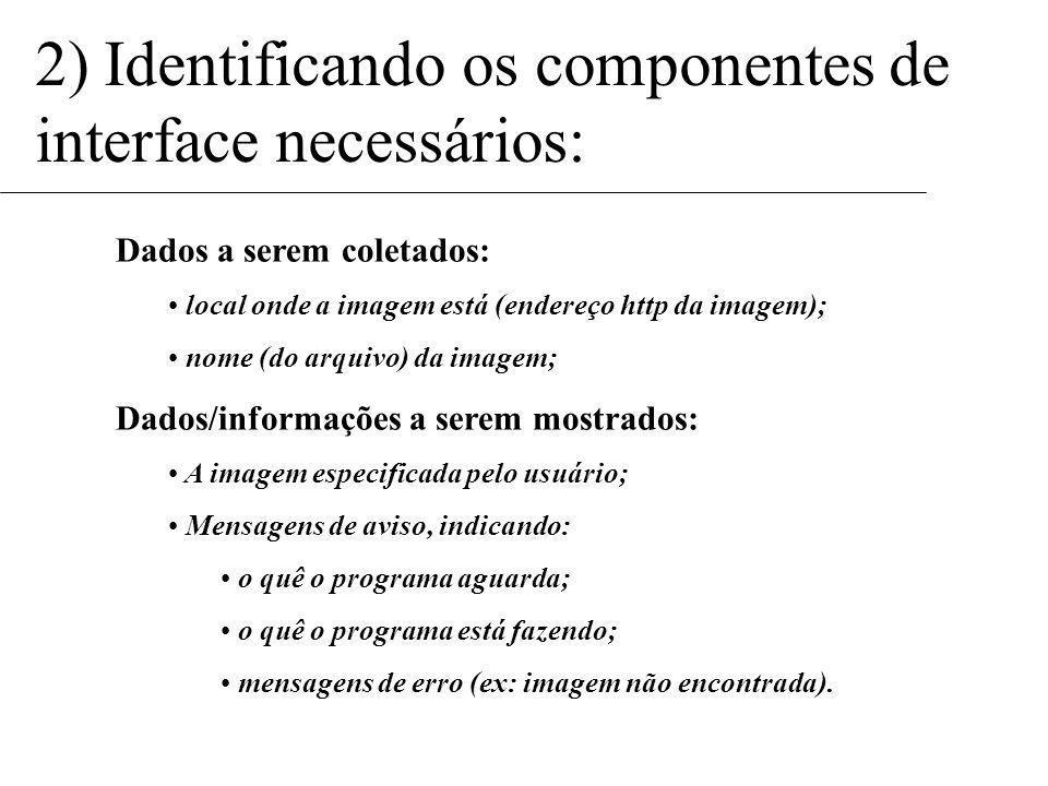 2) Identificando os componentes de interface necessários: