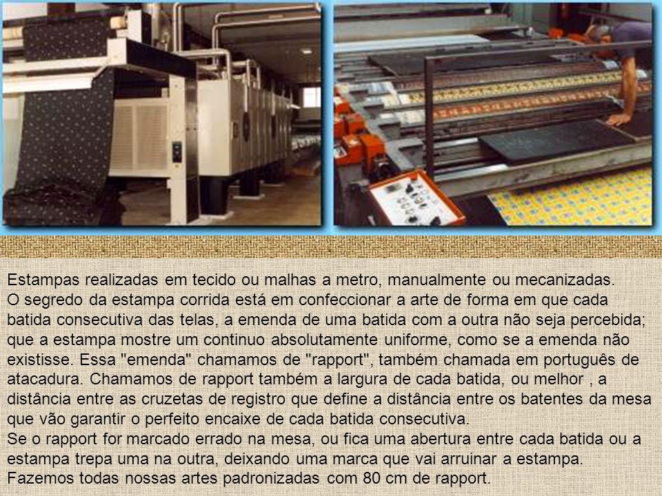 Estampas realizadas em tecido ou malhas a metro, manualmente ou mecanizadas.