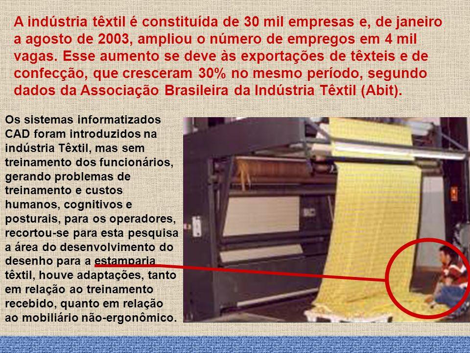 A indústria têxtil é constituída de 30 mil empresas e, de janeiro a agosto de 2003, ampliou o número de empregos em 4 mil vagas. Esse aumento se deve às exportações de têxteis e de confecção, que cresceram 30% no mesmo período, segundo dados da Associação Brasileira da Indústria Têxtil (Abit).