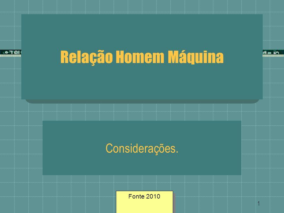 Relação Homem Máquina Considerações. Fonte 2010 Fonte geosites/2005