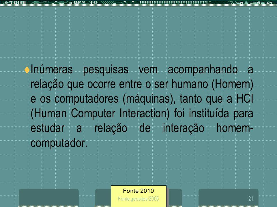 Inúmeras pesquisas vem acompanhando a relação que ocorre entre o ser humano (Homem) e os computadores (máquinas), tanto que a HCI (Human Computer Interaction) foi instituída para estudar a relação de interação homem-computador.