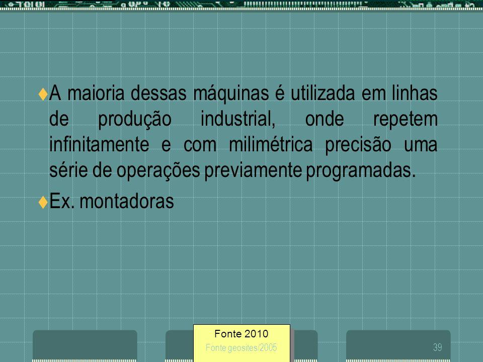 A maioria dessas máquinas é utilizada em linhas de produção industrial, onde repetem infinitamente e com milimétrica precisão uma série de operações previamente programadas.