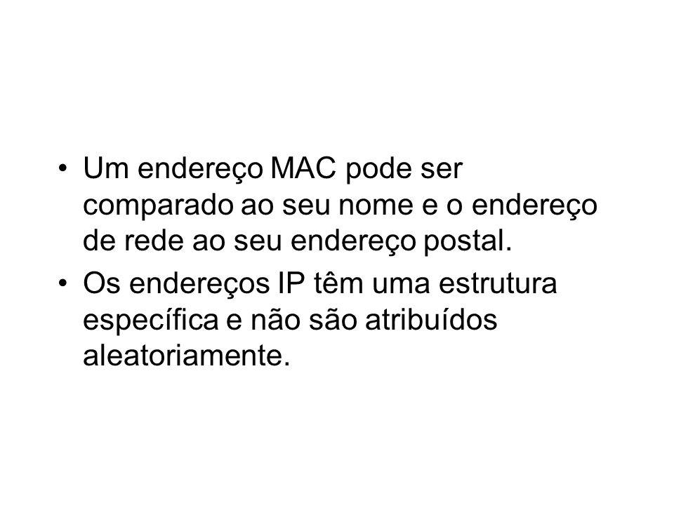 Um endereço MAC pode ser comparado ao seu nome e o endereço de rede ao seu endereço postal.