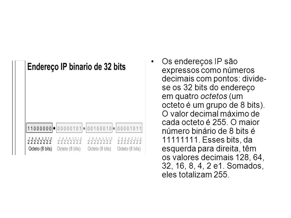 Os endereços IP são expressos como números decimais com pontos: divide-se os 32 bits do endereço em quatro octetos (um octeto é um grupo de 8 bits).