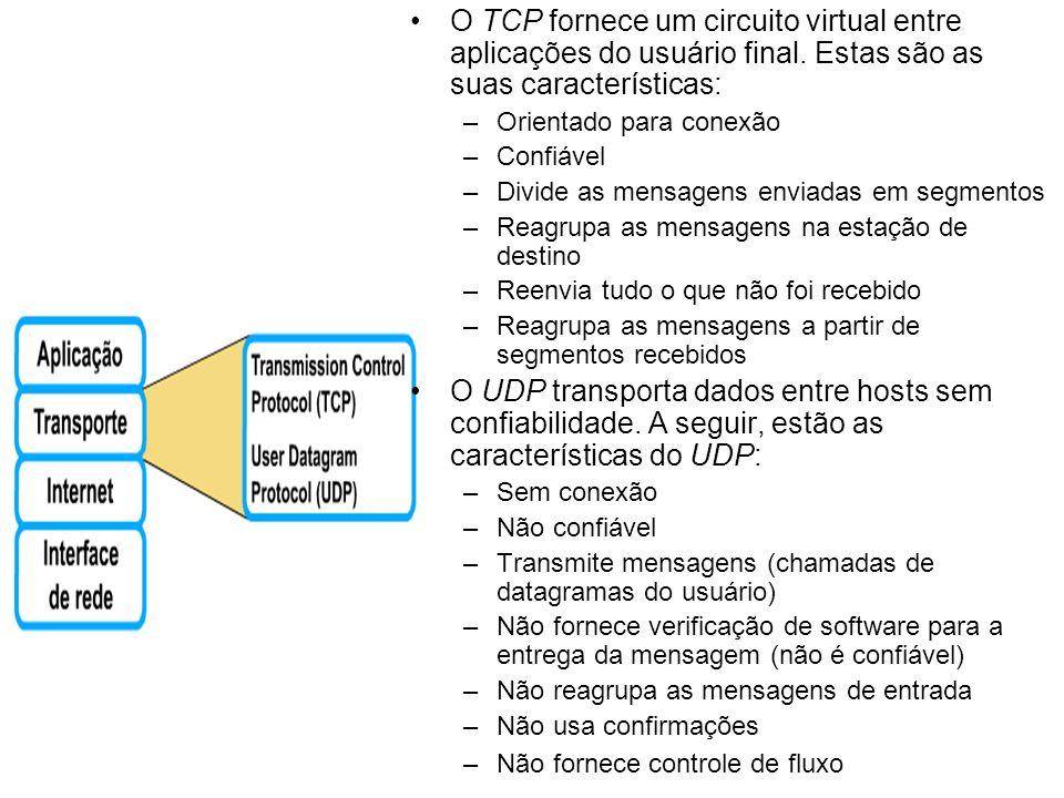 O TCP fornece um circuito virtual entre aplicações do usuário final