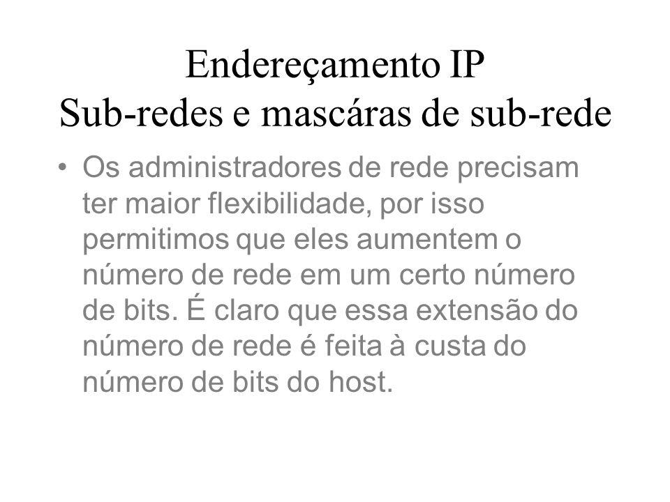 Endereçamento IP Sub-redes e mascáras de sub-rede